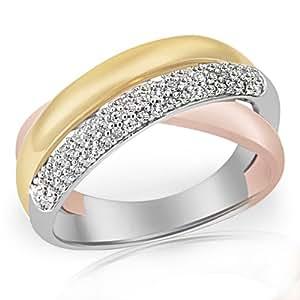 Goldmaid - Pa R4933TR58 - Bague Femme - Or tricolore 375/1000 (9 carats) 6.0 gr - Diamant - T 58