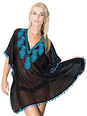La Leela pure cachemire en mousseline de soie à paillettes col plage baignade couvrir en bleu minéral