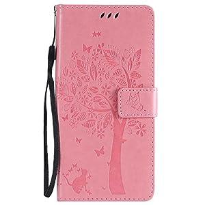 DENDICO Galaxy S9 Plus Hülle, Leder Handyhülle mit Standfunktion und Kartenfach, Magnetverschluss Flip Brieftasche Etui Schutzhülle für Samsung Galaxy S9 Plus – Pink