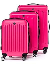 FERGÉ® ensemble de 3 valise LYON - ABS set trolley trois rigide léger grand - bagages à main 4 roulettes 360 degrés cabine Air France, EasyJet... homme et femme