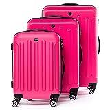 FERGÉ® Kofferset Hartschale 3-teilig Lyon Reise-Koffer Set leicht 3er Hartschalenkoffer Trolley Set (M L XL) 4 Zwillings-Rollen (360°) Hartschale pink