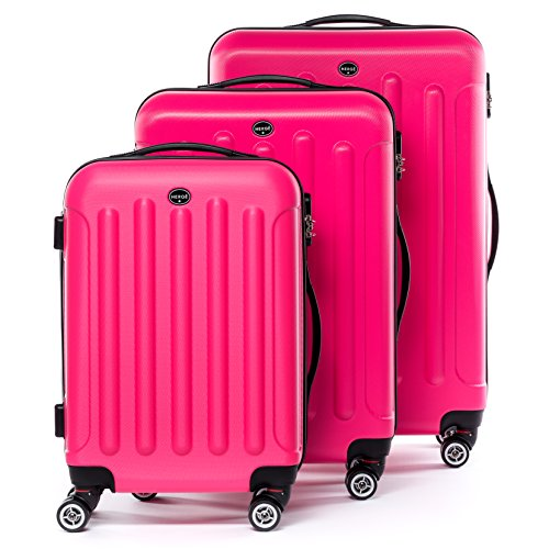 FERGÉ Set di 3 valigie LYON - leggero bagaglio rigide dure da 3 ABS duro tre pz. valigie 4 ruote (rotelle multidirezionali 360°) rosa