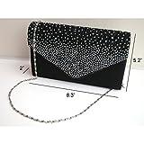Brand New Ladies Diamond Envelope Clutch Bag Evening Party/ Bridal Wedding/ Hand Bag Black