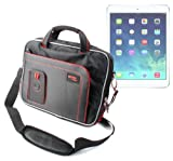 DURAGADGET High Quality Tough Black & Red Water Resistant Tablet Shoulder Case With Multiple Accessory Storage Compartments For The New Apple iPad Air Wi-Fi / Wi-Fi + Cellular Space Grey Silver 16Gb 32Gb 64Gb 128GB (November 2013 Release)