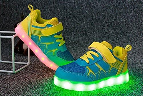 [Présents:petite serviette]JUNGLEST Unisexe Enfant Filles Garçons Couleur USB Charge LED Lumière Lumineux Clignotants Chaussures Jaune