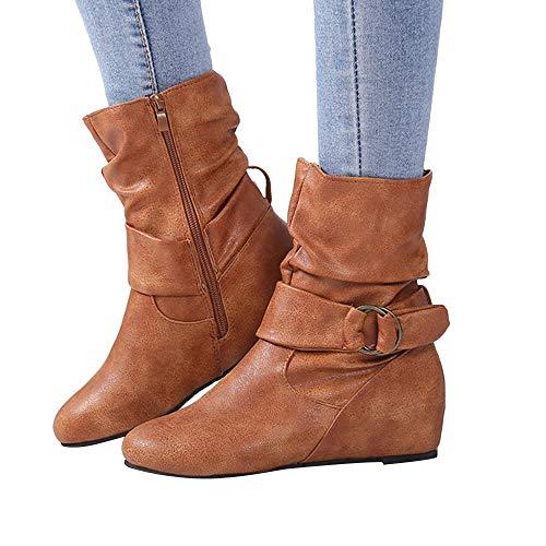 OSYARD Damen Halbschaft Booties Stiefeletten Lederstiefel,Schlauchstiefel Vintage Flandell Oversize, Frauen Erhöhen Hohe Shoes Haken-Loop Schuhe Zipper Boots Mittlere Stiefel (240/39, Braun)