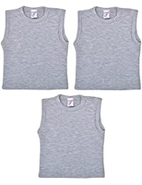 Baby Bucket Sleeveless Grey Cotton Thermal Wear Baby Vest Set of 3 T-Shirts