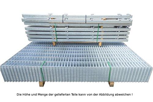 10 Meter Doppelstabmattenzaun Zaunanlage Gartenzaun Zaun / feuerverzinktes Komplettpaket Höhe 83cm/ Maschenweite: 50/200mm / Drahtstärke: 6/5/6 mm / Komplettpaket