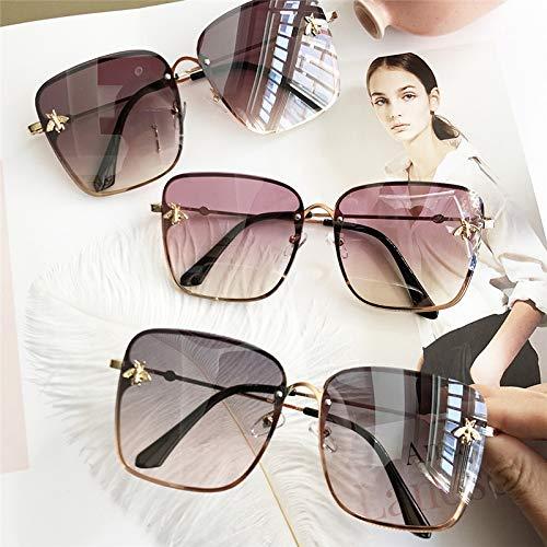 HYDYH SonnenbrillenÜbergroße quadratische Sonnenbrille Männer Frauen Promi-Sonnenbrille Männlich Driving Superstar Luxury Brand Designer Female Shades, Grau