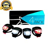 LED Bike Light Set, SGODDE Bicycle Light 2x Red Light 2x White Lights Waterproof Flashlight Power Package Silicone Light Set for Childrens Bikes Mountainbikes Safety lighting