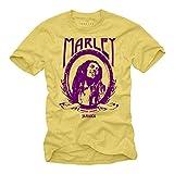 Maglietta Rastafari Reggae Musica - Bob Marley T-Shirt - Giallo L