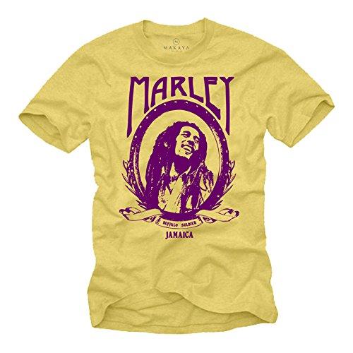 Maglietta Rastafari Reggae Musica - Bob Marley T-Shirt - giallo M