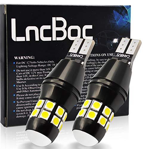 LncBoc T15 LED Ampoule W16W CANBUS Sans Erreur Extrêmement Lumineux 912 921 Ampoules 6000K 20-SMD 3030 LEDPour Auto LED Sauvegarde Inversée Ampoule Xenon Blanc 2PCS