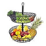 Comaie® Rotatable-Korb Aufsatz mit Draht-2-tier Deko-Gemüse für Snacks, mit Tier-Batterie-Halter Ellipse Aufhänger mit doppelten double-deck Verwendung im Wohnzimmer, moderne Kreative