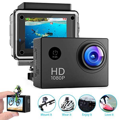 140° Weitwinkel Aktionkameras Wasserdicht 30M Unterwasserkamera 1080p Ultra Full HD Sport Action Gratis Zubehör inklusive -