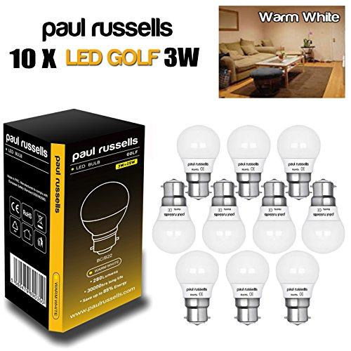 Paul Russel® 3W Golf Ball Warm Weiß LED Leuchtmittel B22/BC, Bajonettsockel, entspricht 25W Glühbirne Leuchtmittel, 280Lumen, 2700K, Mini Globe G45Glühlampen, durchschnittliche Lebensdauer 30000Stunden, 10Stück Leuchtmittel