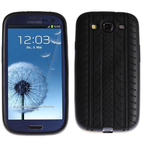 wortek Hülle, kompatibel mit Samsung Galaxy S3, Silikon Schutzhülle Reifen Profil Schwarz -