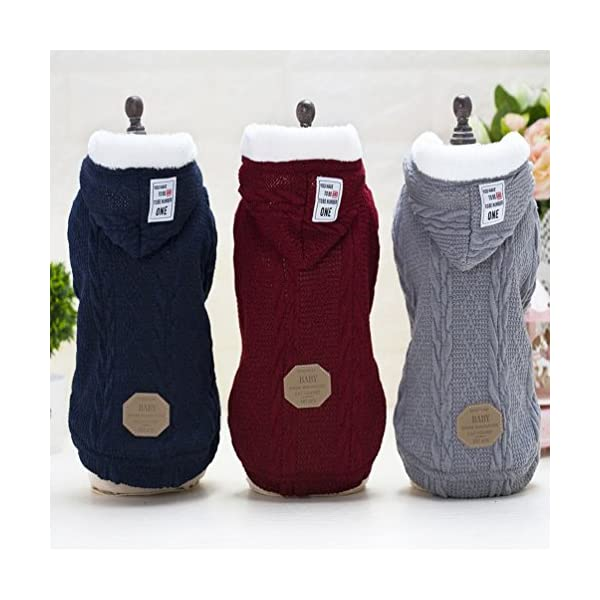 smalllee_lucky_store Knitted Dog Clothes Jumper with Hood Warm Hoodie Jacket Coat for Small Dogs 1