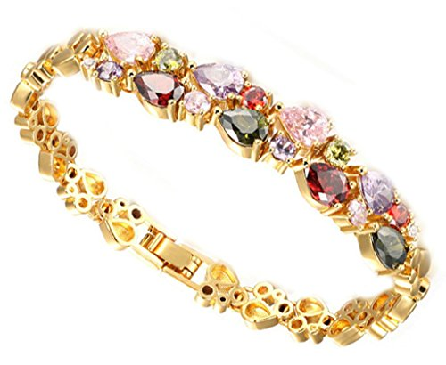AMDXD Schmuck Edelstahl Damen Armband Mehrfarbig Zirkonia Elegante Gold Damen-Armreifen