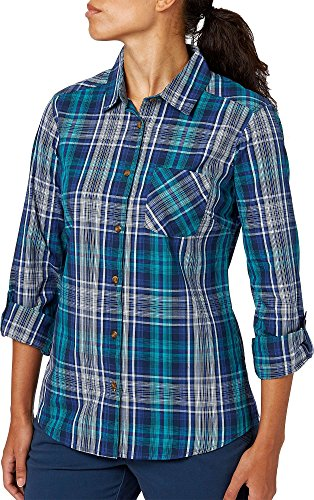 Button-down Woven Dress Shirt (Field & Stream Frauen Woven Plaid Button-Down Long Sleeve Shirt, Damen, Hzl Dress Blues, Medium)