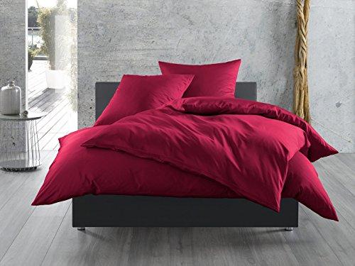 Mako-Satin Baumwollsatin Bettwäsche uni einfarbig zum Kombinieren (Kissenbezug 80 cm x 80 cm, Pink) viele Farben & Größen
