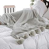 CULASIGN Luxus Stilvolle Strickdecke Tagesdecke Klimaanlage Decke mit Pompom für Fernsehen Sofa Bett