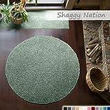 Shaggy-Teppich | Flauschiger Hochflor für Wohnzimmer, Schlafzimmer, Kinderzimmer oder Flur Läufer | einfarbig, schadstoffgeprüft, allergikergeeignet | Mint Grün - 120 cm rund