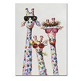YDGG Arte Poster Giraffa Animale colorato Una Famiglia con Gli Occhiali Pittura Quadro Stampe su Tela Stampe da Parete Arte per Cameretta Camera-60x90cmx1 Pezzi Senza Cornice