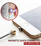 [RedDot] Magnetisches Ladekabel Lightning Kabel KREIS VERBINDER Nylon Kabel 1.1m(3.6ft) High Speed 2.1A [No Data Sync] LED Licht für iPhone iPad - Gold [Südkorea]