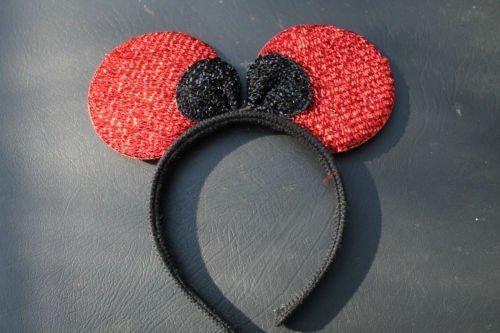 Qualitätsweichschaum Minnie Mouse Rot Ohren auf Stirnband mit Schwarz (Maus Stirnband Rote Minnie Ohren)
