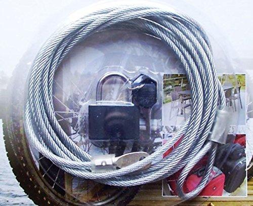 Cavo in acciaio con rivestimento di plastica, 300cm, Ø 4mm, con lucchetto