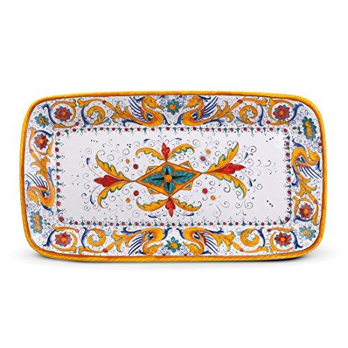 MICHELANGELO, Handgefertigte Keramik, Italien - Fach, Wand oder Tisch, Raffaellesco Dekoration, in Keramik 43x23 H5 cm (GELB)