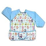 Luxja Baby Lätzchen mit Ärmel, Armellatzchen Abwaschbar, lange ärmel lätzchen für kleinkinder beim Essen und Spielen Smock Schürze für Kleinkinder (6-24 monate), süße Eule
