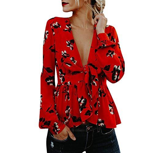 VJGOAL otoño Mujer Sexy Rojo con Cuello en V Estampado Floral Gasa Blusa Manga Larga asimétrica Dobladillo...