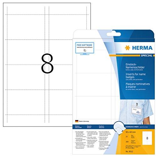 Herma 9012 Einsteckkarten f. Plastik Namensschilder u. Ausweishüllen (90 x 60 mm) weiß, 200 Einsteckschilder, 25 Blatt DIN A4 Karton, bedruckbar, nicht klebend