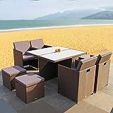 RedNeck Gartenmöbel Set 4er Sitzgruppe Dining Lounge braun Polyrattan Alu mit Milchglas