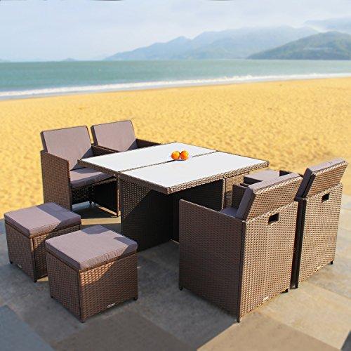 RedNeck Gartenmöbel Set 4er Sitzgruppe Dining Lounge braun Polyrattan Alu