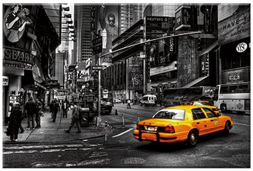 Cab , Fotokunst von Dr. Michael Feldmann , Digitaldruck auf Leinwand gedruckt , mit Keilrahmen, Fertigbild , Times Square Strassenszene in New York , New York Taxis , Kunstartikel Fotokunst, Leinwandfertigbild, Grösse 100 cm x 67 cm, Wohnen und Bilder, New York Bilder
