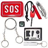 Steinbock7 Survival Kit Bushcraft SOS - Metallbox mit Taschenmesser, Feuerstahl,...