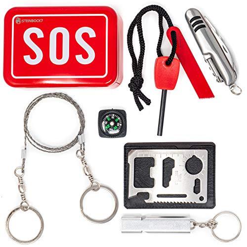Steinbock7 Survival Kit Bushcraft SOS - Metallbox mit Taschenmesser, Feuerstahl, Drahtsäge, Pfeife, Kompass und Multitool