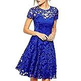 mywy - Abito donna svasato elegante vestito tipo pizzo cerimonia vestitino blu festa_blu_Taglia unica