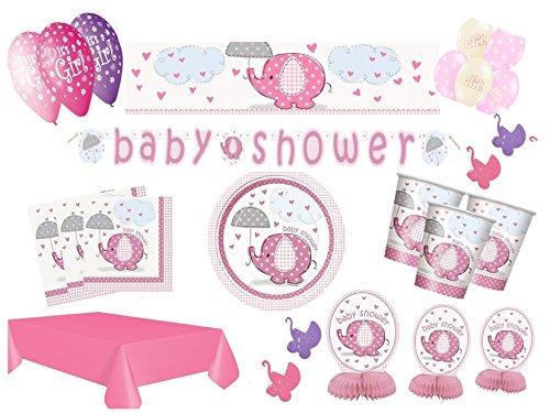 Partydekoset Babyparty Baby Shower Mädchen rosa für 8 Personen 60teilig Pullerparty Baby Geburt Babyparty Komplettset Tischdeko Party Geschirr