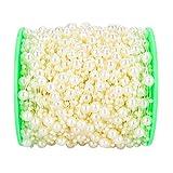 X-Mile 60m/roll Perla Perline Della Decorazione Perline Filo di Perle Collana Rotonde di nozze Parti ornamento 3mm+8 mm Diametro Avorio
