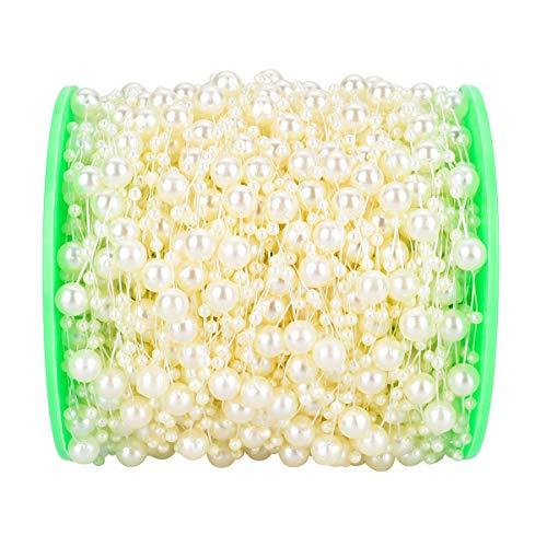 Perle Dekoration Perlenkette Perlenband Perlen String Perlen Kette für Party DIY Ornament Hochzeit Tischdeko 3mm+8mm Elfenbein ()