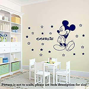 Disney Mickey Mouse Personalisierte Removable Home Decor Wandaufkleber Kinderzimmer Wandkunst mit 20 Sterne Vinyl Wandtattoos D4