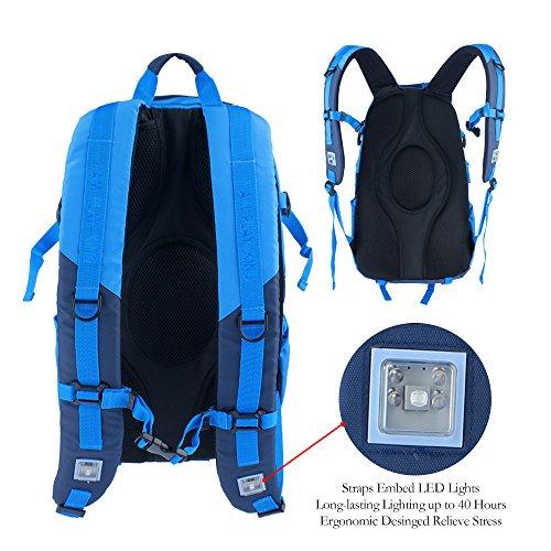 Outdoor Rucksack LED-Beleuchtung Rucksack Backpack Wasserdicht Trekkingrucksäcke Reiserucksack Wanderrucksack 36+L für Reisen Wandern Camping Bergsteigen Unisex Blau