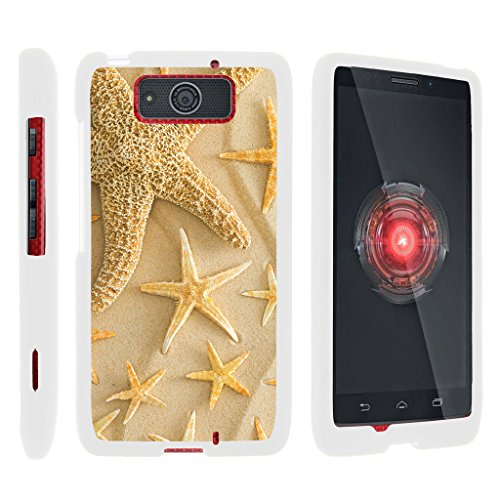 turtlearmor | Motorola Droid Maxx Schutzhülle XT1080 | Droid Ultra Case XT1080 M [Geringe Duo] Ultra Slim Hard Cover Snap auf Shell auf Weiß Beach Design -, Starfishes on Sand Maxx Ve-snap