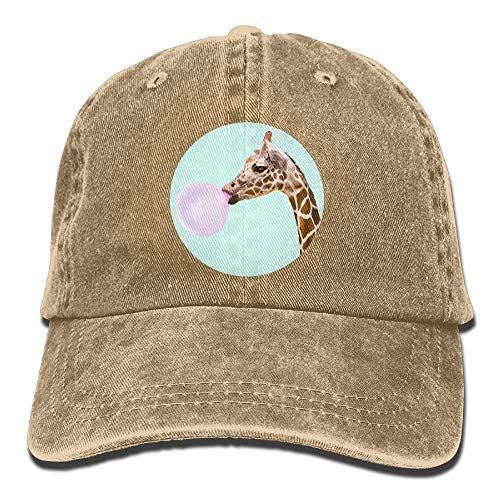 Vidmkeo Erwachsene Giraffe Schlag Ballon Niedlich Washed Denim Baumwolle Sport Outdoor Baseball Cap Einstellbar One Size Schwarz Multicolor49