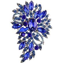 Broche Elegante De La Flor Del Diamante De Cristal Joyas De Moda para Fiestas Color Azul