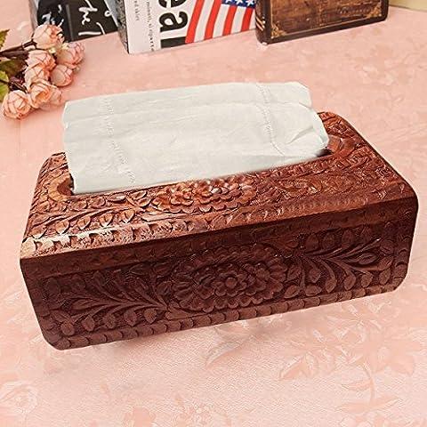 caja de pañuelos de madera tallado a mano con diseño floral, regalo para la Navidad o de cumpleaños